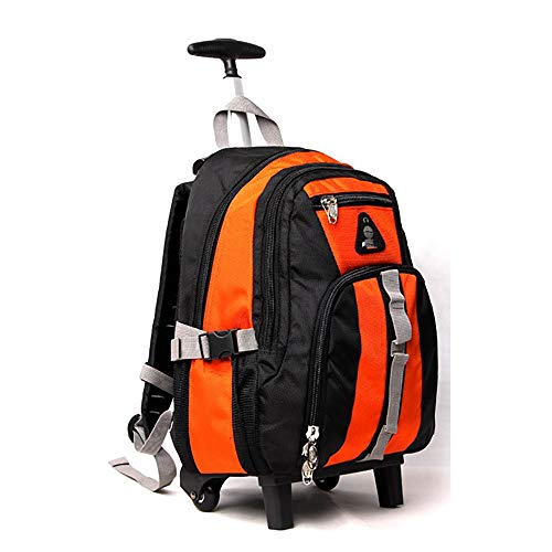 FGKING 18 Inch Trolley Rucksack, Nylon Waterproof Freewheel Travel School Wheeled Backpack, Carry-on Gepäck mit Zippers, Ultra-Light und Large Capacity Bag,Orange - Wheeled Backpack Gepäck