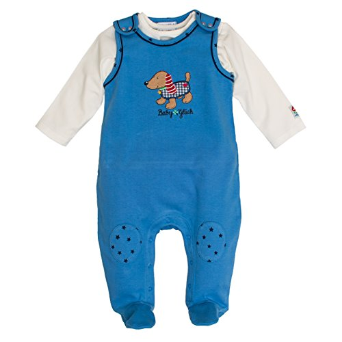SALT AND PEPPER Baby-Jungen Strampler BG Playsuit Uni Dackel, Blau (Mid Blue 425), 56