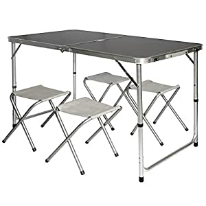 Amanka camping table incl 4 stools portable picnic set - Camping table adjustable height ...