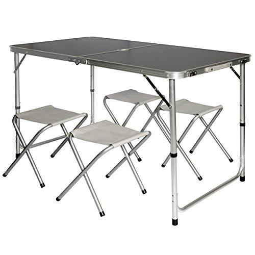 AMANKA Tavolino da pic-nic incl 4 Sgabelli Tavolo da campeggio 120x60x70cm altezza regolabile pieghevole formato valigia Grigio Scuro