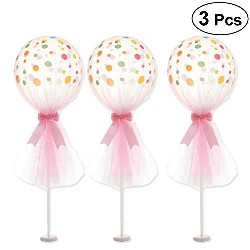 BESTOYARD Party Latex Polka Dot Ballons Kit 12 Zoll Bowknot Tüll Dot Balloons mit Polen und Basen für Party Hochzeit Geburtstag Jubiläumsfeier, Packung mit 3 (Pink) (Polka Dot Latex-ballons)