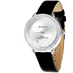 So Charm Women's Fashion Watch Bracelet with Swarovski Crystals, Black Leather