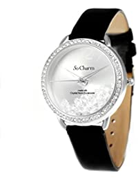 Montre femme bracelet cuir noir So Charm made with 86 crystal from Swarovski Elements