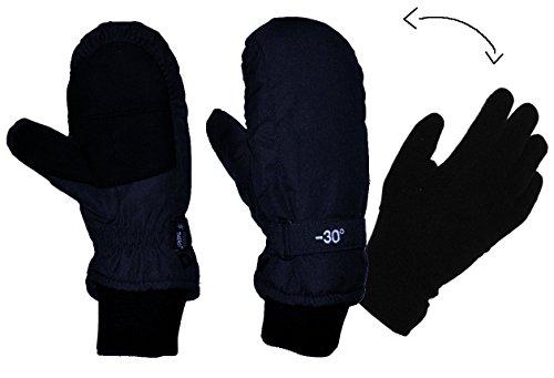 Unbekannt 2 in 1: Fingerhandschuhe im Fausthandschuh für Kälte bis -30 Grad - wasserdicht Thinsulate - sehr warm - Thermo gefüttert - Größe 7 - Thermohandschuhe dunkel blau