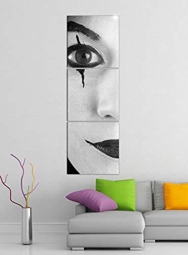 rror Clown Maske Pantomime Gesicht schwarz weiß Bilder Druck auf Leinwand Vertikal Bild Kunstdruck mehrteilig Holz 9YA5109, Vertikal Größe:Gesamt 40x120cm ()