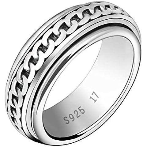 YKQJING Prepotente personalità moda gioielli anello esterno argento Thai retrò rotazione anello in argento 925