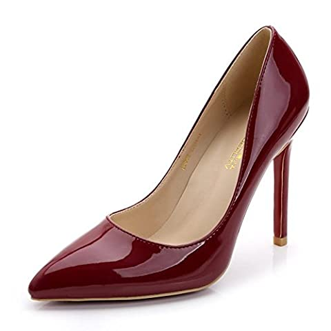 Femmes Dames Nouveau Stiletto High Heel Ankle Sexy Pointed Toe Shallow PU Patent Leather Single Count Chaussures Black Party Evening Prom , 1 , EUR 38/ UK 4.5