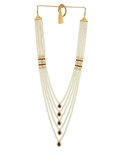 Anuradha Art Red-Gold Colour Studded Shimmering Stone Design Traditional Necklace Groom Moti Mala For Men