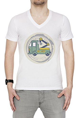 37 Met Uomo V-Collo T-shirt Bianco Cotone Maniche Corte White Men's V-neck T-shirt