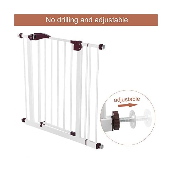 Baby Children Safety Gate Door Auto Close Swing Shut Stair Fence Pet Protection High and Wide Pressure Fit Safety Gate Ideal None Screw Stable and Durable Protective Safety Gate for Babies or Pets Ejoyous ღ Auto Close Double Lock 100% Safe ღ This Safety Gate Door adopt double lock and auto close design. There are 2 locks separately located on the top and bottom of the gate, which makes sure that your kids won't accidentally open it and get out. Besides the auto close design also buy you an insurance for careless forgetting to close it. Also it can locate 90 ° normally open, very convenient for long time in and out. These triple protection let your baby totally free from danger ღ Pressure Fit Set Easy Assemble ღ There is no need of any drilling work. The 4 pressure point will let the Safety Gate be firmly and stably fixed on the wall. Extremely easy to get the assemble job done or disassemble to move it to any place else ღ 85-94cm Wide High Versatility ღ The original wide(81 cm) plus extension accessories (10 cm) makes a total 91 cm wide along with the extension pressure point can let the gate be set at 85-94cm doorways, hallway or stairway (the most common wide of house design). You are free to choose using extension accessories or not 13