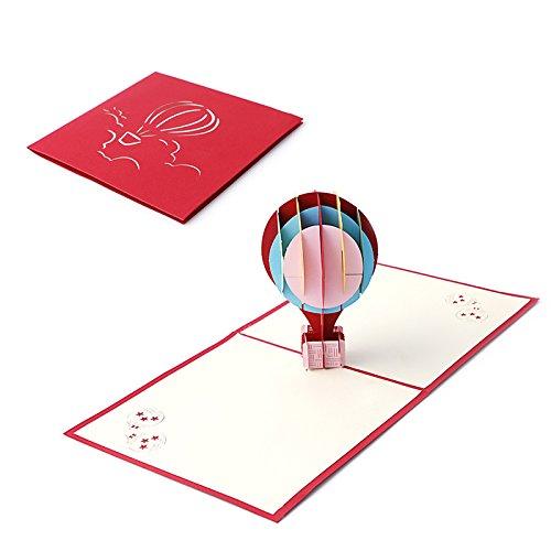 Umschlag, Heißluftballon 3D Pop up Grußkarte Weihnachten Geburtstag NEU Jahr Einladung Paper Cut Postkarte Valentines Party Geschenk Pink (Halloween-party-postkarten-einladungen)