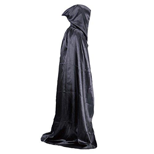 ZHOUBA Vampiro Mantello Medievale Costume di Halloween da Strega Mantello Robe Floor-Length, Nero, Taglia Unica