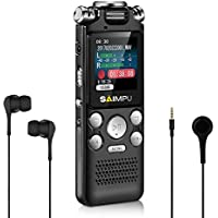 Voice Recorder Dictaphone 8gb Digital Voice Recorder with Mp3 Player Spy Voice Recorder Recording Device for Lectures,SAIMPU Professional Noise Reduction Rechargeable USB Voice Activated Recorder