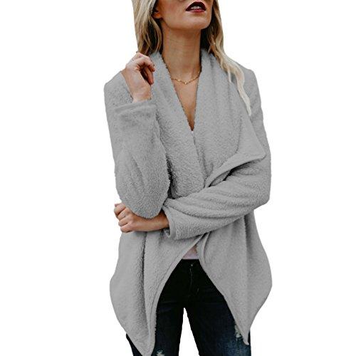 WanYang Donna Irregolare Cappotto Lungo Manica Lunga Trench Coat Oversize Autunno Inverno Parka Outwear Cardigan Grigio scuro
