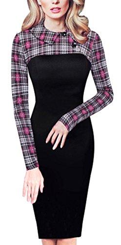 HOMEYEE Vestito aderente Voguish zampa di gallina Patchwork Slim femminile B238 Rosa