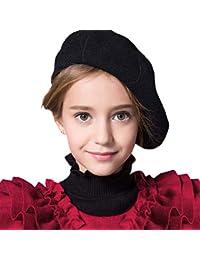 IBLUELOVER Béret Enfant Casquette Plate Fille Garçon Bonnets Chaud en Laine  Chapeau Hiver Classique Artiste Français befe0ac8f4a