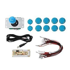 ASHATA DIY Arcade-Spiel-Taste und Joystick, Arcade-Kits Joystick x 1+ Taste x 10 USB-Encoder PC Joystick DIY-Kit für Raspberry Pi PC-Spiel-Maschine(Blau)