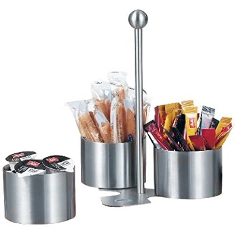 Esmeyer Juego Snack & Dip Boston, 4 piezas, acero inoxidable cepillado 18/10, 3 compartimentos redondos, soporte magnético, en caja de cartón con