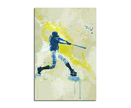 Baseball III 90x60cm SPORTBILDER Paul Sinus Art Splash Art Wandbild Aquarell Art (Baseball Leinwand)