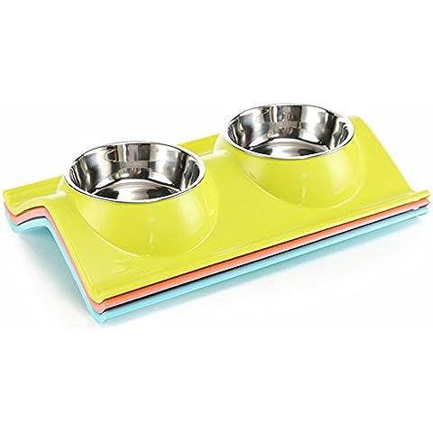 Comederos Doble Para Perros De Acero Inoxidable y plástico Tazón De Mascota Alimentador Del Animal para Comer en Casa