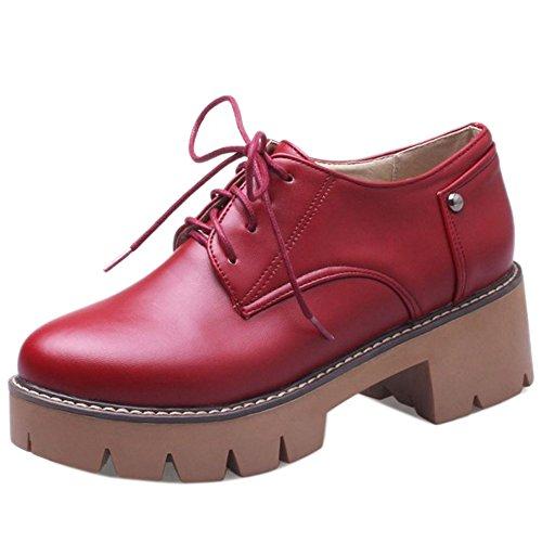 RAZAMAZA Femmes Classique Chaussures De Ville A Lacets Plateforme Chunky Heel red