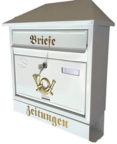 Naturholz-Schreinermeister Großer Briefkasten/Postkasten XXL Weiß mit Zeitungsrolle Schrägdach Trapezdach