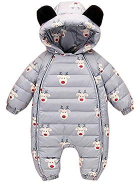 ARAUS Schneeanzug Baby Winter Steppstrampel Set mit Kapuzen Daunenanzug mit Handschuhe Fuß Snowsuit Ohren Overall...