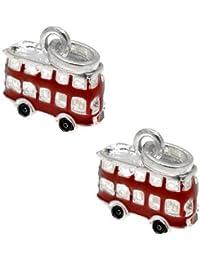 Cuentas de Acosta - con esmalte rojo pendientes largos con forma de autobús para pulsera - Slide de poner y quitar colgantes - juego de 2