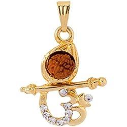 Shiva Rudraksha Religious Rudraksh With Gold Pendant OM Pendant