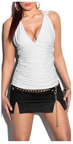Extravagant Top avec décolleté plongeant et en dentelle et en bordeaux rouge/rose/noir/blanc/beige Taille unique XS, S, M 343638en–Shion stylefa) Blanc