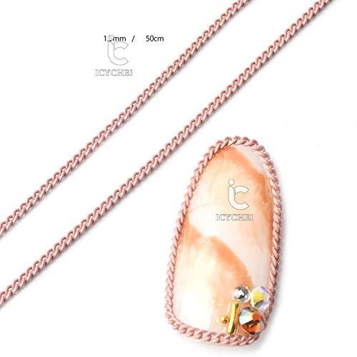 Icycheer Chaîne de 50 cm de nail art 12 Couleur Candy Macaron Punk Metal Nail Art Décorations 3d Manucure Vernis gel UV DIY accessoire