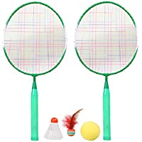 BESPORTBLE 1 Juego de Raqueta de Bádminton para Niños Equipo Deportivo de Doble Raqueta de Entrenamiento con Tres Pelotas para Principiantes (Verde)