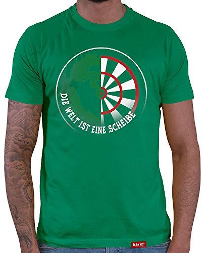 HARIZ  Herren T-Shirt Die Welt Ist Eine Scheibe Darten Dartscheibe Dart Pfeile Sport Fun Trikot Test 2 Test 3 Grün XL
