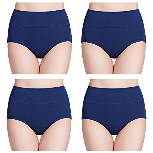 wirarpa Damen Unterhosen Baumwolle Slips Damen Hoher Taille Atmungsaktive Taillenslip Wochenbett Unterwäsche Mehrpack Größen 32-58, Navy Blau-4er Pack, XX-Large (50/52/54)
