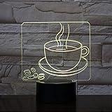 Shuyinju Usb 3D Led Nachtlicht Kaffeetasse Multicolor Rgb Dekorative Lichter Jungen Kind Kinder Baby Geschenke Kaffeebohnen Tischlampe Nachttisch