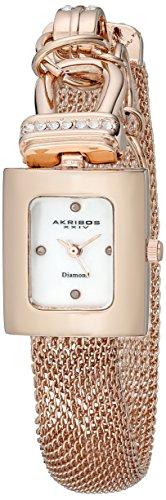 Akribos XXIV AK510RG Orologio da Polso al Quarzo, Analogico, Donna, Oro, Oro