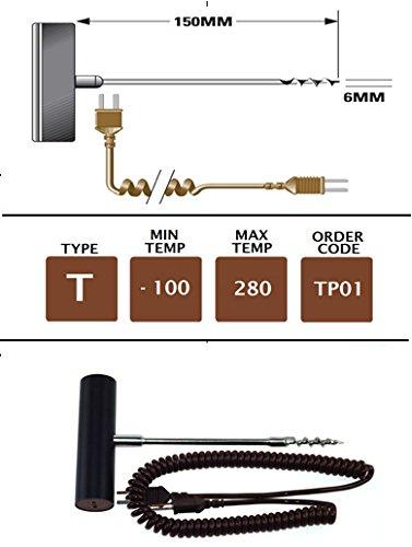 TME TP01 Sonde tire-bouchon/produits surgelés, Type T, 150 mm x 6 mm, Noir
