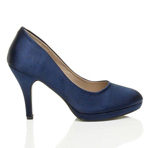 Elegantes Médio Senhoras alto Azul De Plataforma De Cetim Sapatos Básica Noite Escuro Calcanhar Partido Tamanho Bombas AAwqr58