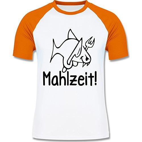 Küche - Mahlzeit - zweifarbiges Baseballshirt für Männer Weiß/Orange