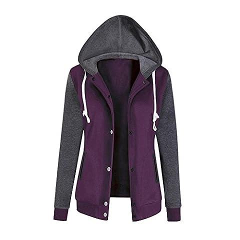 Moonuy veste Femmes Mode Baseball manteau à capuchon à manches