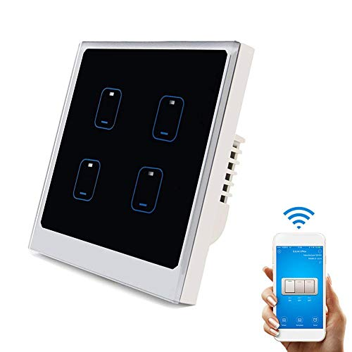 SUNSETGLOW Smart Wifi Lichtschalter 4 Gang, Amazon Echo Und Google Home Unterstützt, Moderne Touch Panel Wandschalter, Fernbedienung, Timing-Funktion, Smartphone-Steuerung -