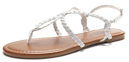 SANDALUP Flache Sandalen mit Geflochtenem Riemen für Damen Weiß 07