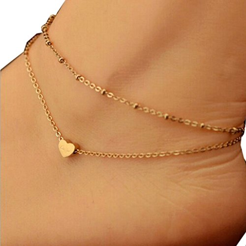 Vovotrade Girls Gold Simple Double Chain Heart Bead Anklet Ankle Bracelet Beach Foot Jewelry