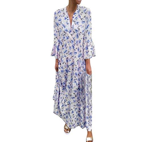 LUGOW Maxikleid Strandkleid Damen Sommerkleider Günstig Bohemian Lange Ärmel FreizeitKleider PartyBallkleid Abendkleider BlusenkleidCocktailkleider LangKleider(Large,Blau)