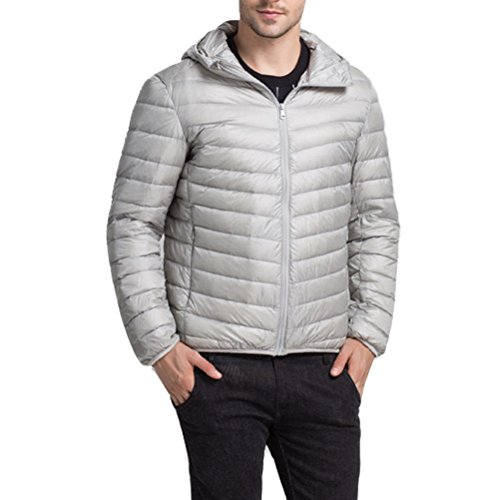 Linyuan Mode Mens Winter Lightweight Down Jacket Warm Outwear Hooded Jacket gray