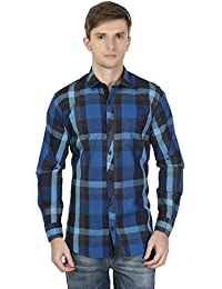 eoigE™ Blue & Black Full Sleeves Men's Shirt