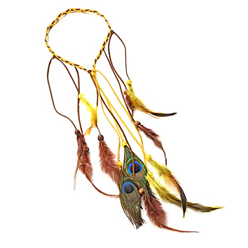 Womens Kopfschmuck Indian Kostüm - chiwanji Indian Women Gypsy Boho Feathers Tassel Hairband Hippie Headband Hairtie Pin
