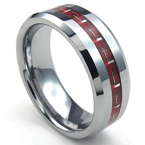 Adisaer Edelstahl Ring Herren Silber Rot Hohe Poliert Einfach Design Ringe Für Männer Punk Größe 67 (Männer Für Kostüm Fallschirmjäger)