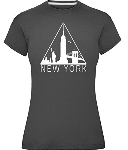 Damen New York Silhouette T-Shirt Holzkohle XL -