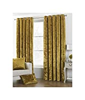 """DEEP Pile Crushed Velvet Ochre Gold Lined 90"""" X 90"""" - 229CM X 229CM Ring TOP Curtains from Curtains"""